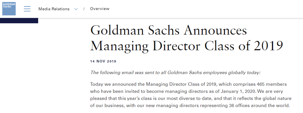 高盛 (Goldman Sachs) : 任命465名新董事总经理