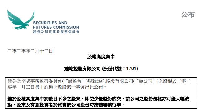 香港证监会:股权高度集中,2020年第一起,来自浙江杭州的途屹控股,19名股东持股92.37%